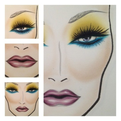 The real finished facechart I did last night! #mac #facechart #painted #paintstick #drama #green #electric #blue  #color #lashes #liner #purple #lips #contour #ilovemaciggirls  (Taken with Instagram at The Birdcage)