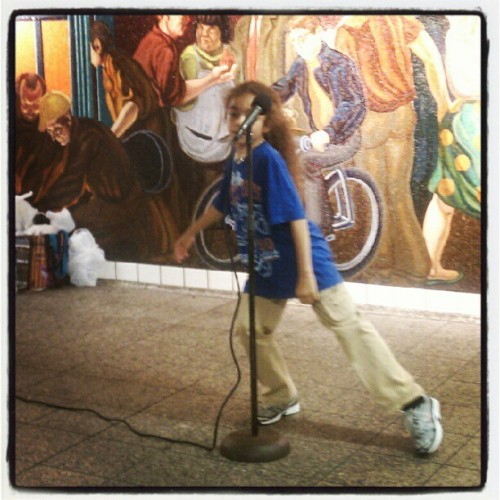 07192012 #TimesSquare #Subway Station // Little boy #Singing and #Dancing :3 // #NYC #StreetPerformers #Music  (Taken with Instagram at MTA Subway - 42nd St/Times Square (A/C/E/N/Q/R/S/1/2/3/7))
