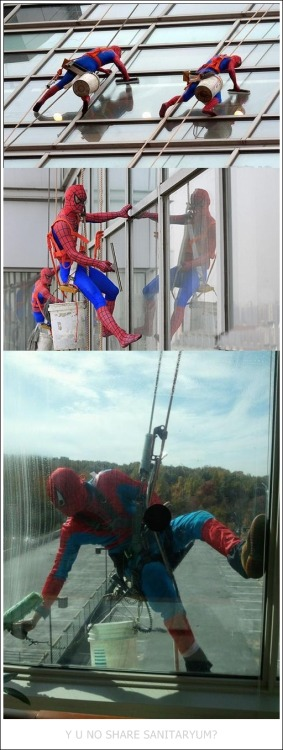 "the-absolute-funniest-posts:  sanitaryum: ""The window washers at a children's hospital in London dress up as super heroes to lift the children's spirits."" - Word on the Internet street Follow this blog, it'll make your dash light up with unicorns and freakin' magic"