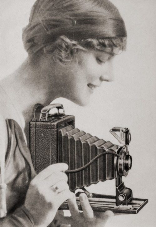 Girl with Kodak camera (c1910)