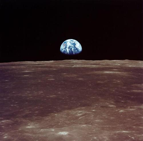 "The famous ""Earthrise"" photo was taken July 20th, 1969 by Apollo 11 astronauts."