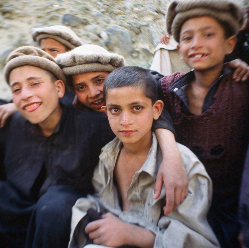Kashmiri boys at Chilas, Pakistan  Boys from the Pakistan village of Chilas, at the start of the hike in to our base camp during our Nanga Parbat climbing expedition in May 2006.