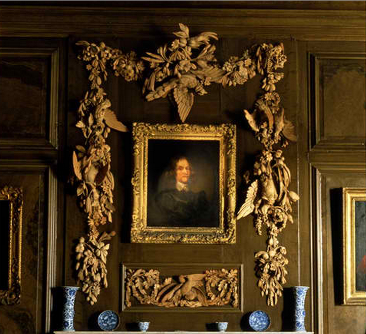 Belton House Portrait of Sir John Brownlow, 1st Baronet of Belton by Gerard Soest circa 1644 in the Marble Hall. The limewood carving of game birds, peapods and ears of corn may be by Grinling Gibbons.  Lincolnshire England