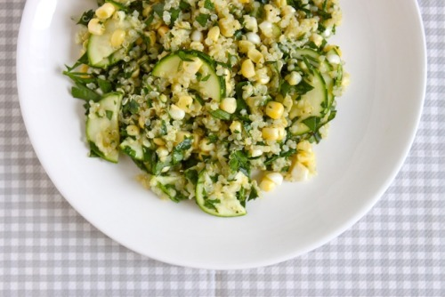 quinoa with zucchini, corn, parsley, and basil
