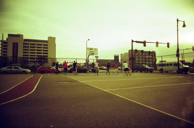 Boston Playground Basketball on Flickr.Photo Credit: Matt Brasch Location: Boston, MA Date: March 12, 2012 Things Featured in Photo: Park, Basketball Court Camera: Superheadz Black Slim Devil Focal Length: 22 ISO: 200 Film Stock: Vista 200 AGFA Photo (2 years past expiration date)