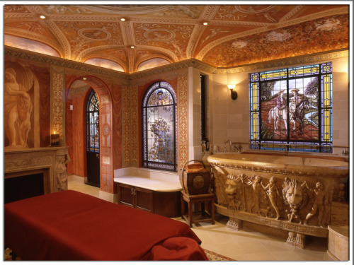 "priceypads:  This private Florentine-style spa includes a ""Vatican tub"" which is an exact replica of one on display in the Vatican museums. Antique stained glass windows and trompe l'oeil painting provide unmatched opulence. Photo by Rob Muir. Follow us on Facebook!  CLICK HEREVisit Pricey Pads"