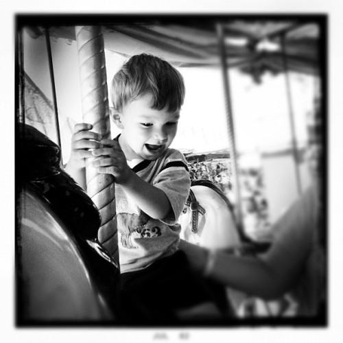 My Happy Boy #children #fair #monochrome #blackandwhite #hipstamatic  (Taken with Instagram)
