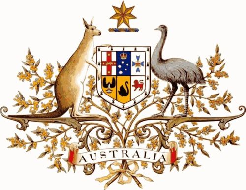 Coat of Arms of Australia.  How awesome is that?  Instead of mythical animals it features two very real and very Australian ones, the kangaroo and the emu.  I've been thinking about this over the past couple of days with the pics of Australian athletes arriving for the Olympics.