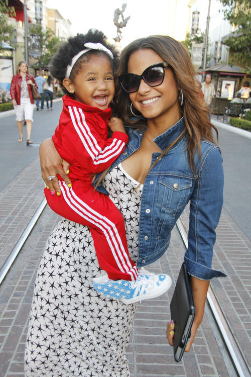 celebritybabiesandbumps:  Christina Milian and daughter Violet at The Grove in Los Angeles.