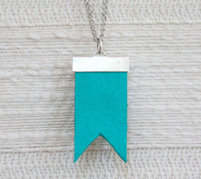 "Teal ""Flag"" Necklace by letterhappy"