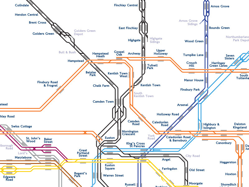 Unofficial Map: A Series of Twin Tubes - A Track Diagram of London After my previous post about this old track layout diagram from Berlin, reader Rolando Peñate brought this awesome project to my attention - a beautiful track layout diagram of the London Underground, DLR and Overground, complete with platform layouts, disused platforms, yards and sidings. What's really amazing about this diagram, however, is that its creator, Andrew Godwin, has essentially automated its production. He explains on his website:  The map is created with an automated tool which takes a textual description of the lines and platforms (as a series of points), and which then automatically draws the lines, station names and labels, saving the tedious process of moving lots of lines around and ensuring all the angles and curves match. Placement of the stations and waypoints is done with a custom GUI tool which draws the map in realtime, as we found that it took too long to edit coordinates in the text file, create the image, and then look for problems.  As a graphic designer who spends way too long tweaking maps to get them looking just right, I'm both astounded and dismayed by this. Amazed that such tools can be written to produce a map this aesthetically appealing, and dismayed in that I may soon be redundant to the process! Have we been there? Yes, and looking at the track layout around Earls Court brings back memories of waiting there for District Line trains to East Putney. What we like: Beautiful-looking map full of intricate details and information. Here, in all its glory is the Northern Line junctions between Euston and Camden Town that frustrated Harry Beck so much (take a look at how many different ways that section of track has been rendered over the years), and countless other details. What we don't like: Nothing… this map is incredible, and I love it to bits! You might quibble that there are some omissions on the Overground lines, but that would be churlish. Our rating: Mind-blowing. Five stars!  (Source: Andrew Godwin's Aeracode website)