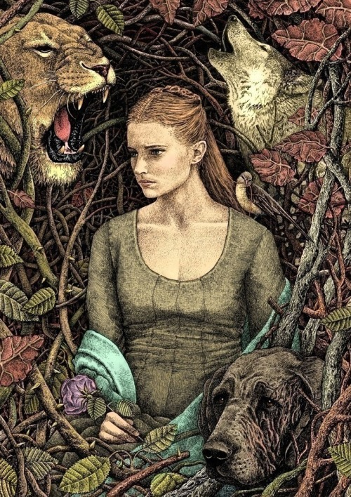 galleryofthrones:  This is so beautiful, and a perfect illo of Sansa. Note the hound with the scarred face, and the little bird on her shoulder, pulling at a wisp of her hair. The artist does this all in *gel pens* (can you fathom that?!) and then colors it in Corel. Breathtaking. Sansa Stark by ~bubug
