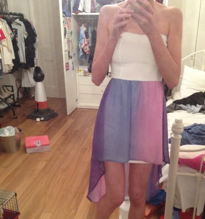 ghostbambino:  literally in love with my new dress. its like floaty lilacs and pinks and blues and ugh its so perfect   i dont remember your legs being this skinny