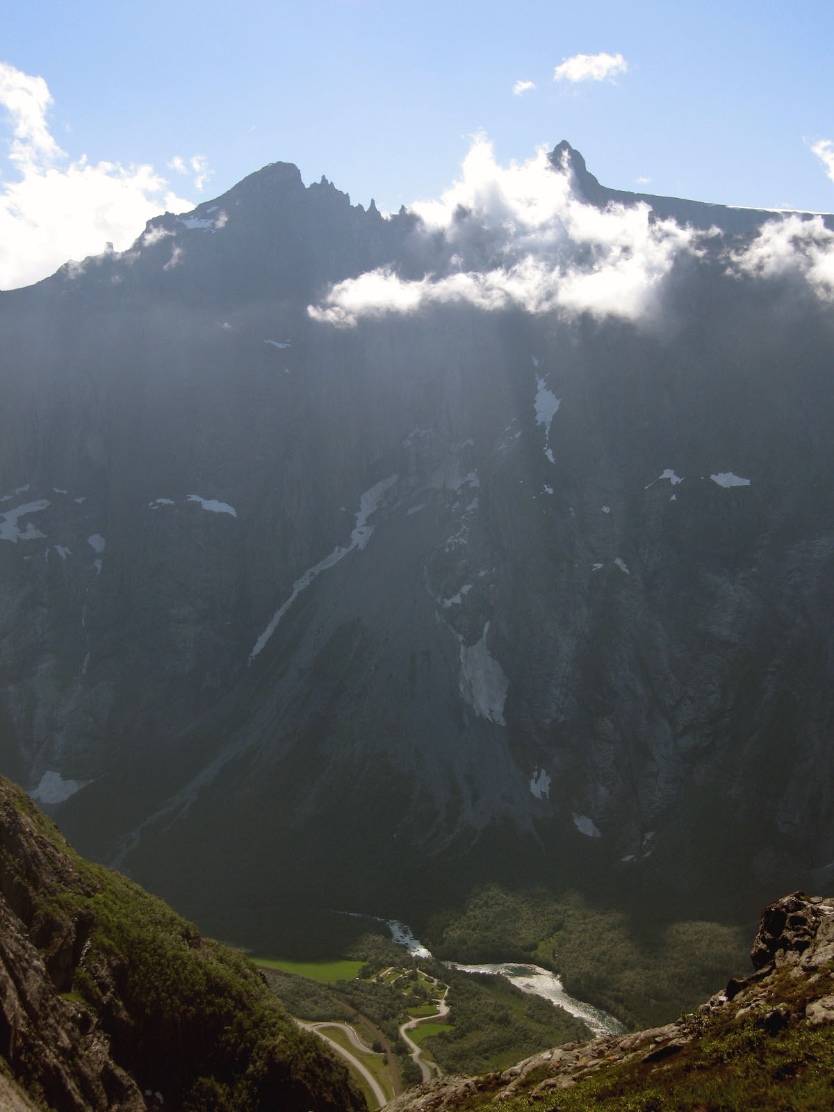 swaetshrit:  Troll Wall (Trollveggen), Norway  The Troll Wall is the tallest vertical rock face in Europe, about 1,700 metres (5,600 ft) from its base to the summit of its highest point.