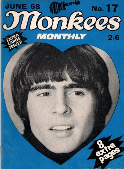 Monkees Monthly, June 1968On the cover: Davy Jones See some classic Davy Jones photographs at Boom Underground, who is posting them as part of a month-long series on Hunks We Were Hot For, male heart-throbs from the 1960s & 70s. Source: 20th Century Collectables
