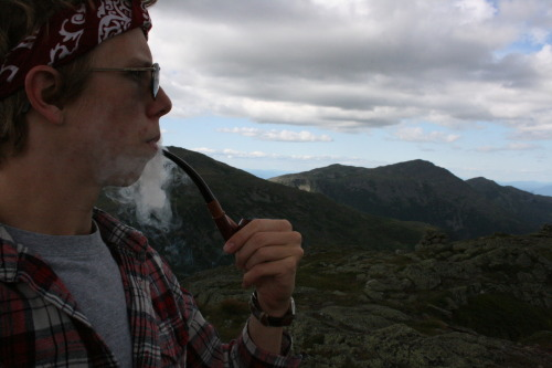 Enjoying my pipe on top of Mount Clay in the White Mountains of New Hampshire.