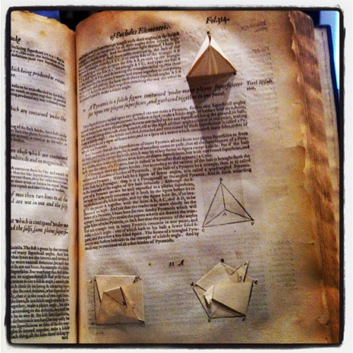 Original Euclid's Book on Geometry — Travels with Tufte (Taken with Instagram at Sheraton Denver Downtown Hotel)