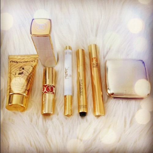 Getting my gold on! Beauty basics! #beauty #makeup #cosmetics #napoleonperdis #primer #Chanel #fragrance #perfume #Ysl #lipstick #mascara #guerlain #blush #GOLD #white #fur  (Taken with Instagram)
