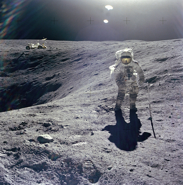 Apollo 16: Duke on Crater's Edge by NASA on The Commons on Flickr.fuckyeahspace!