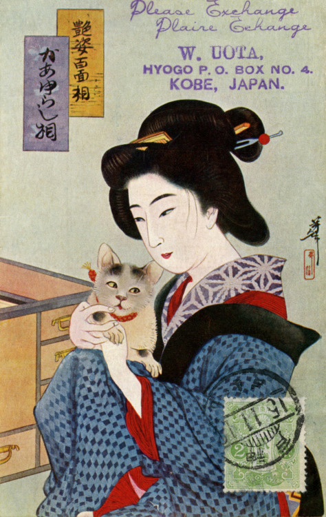 "miyako-odori:  A Geisha and her Cat 1926  According to ""Things Japanese"" by Basil Hall Chamberlain, first published in 1890, a cat (neko) is a nickname colloquially applied to the youngest and most attractive singing-girls (geisha), the reason being that they bewitch men with their artful ways, like magic cats with several long tails (nekomata), while young courtesans (oiran) are called foxes (kitsune) for much the same reason."