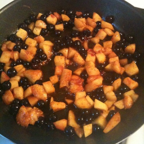 Local peaches, local blueberries with chili powder will be topping an open face turkey burger. #eatrealfood (Taken with Instagram)