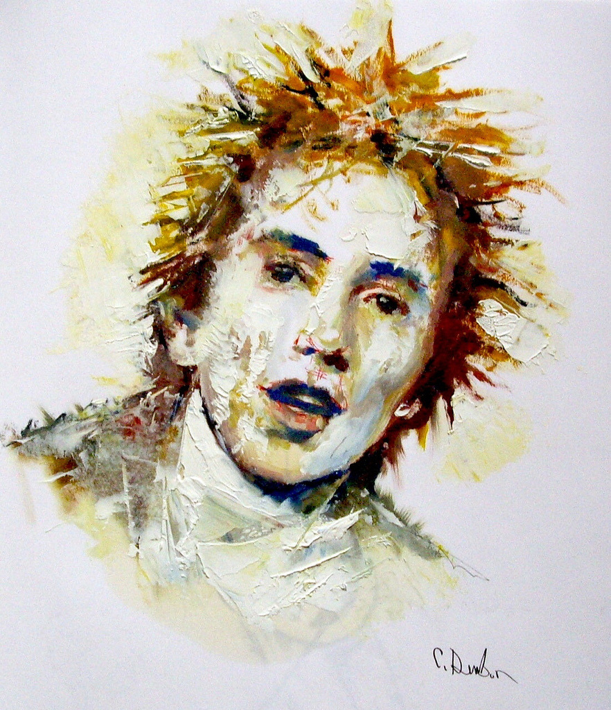 flickr.com:photos:galapunk ColVish777, John Lydon, P.I.L., oil, acrylic & pen on paper