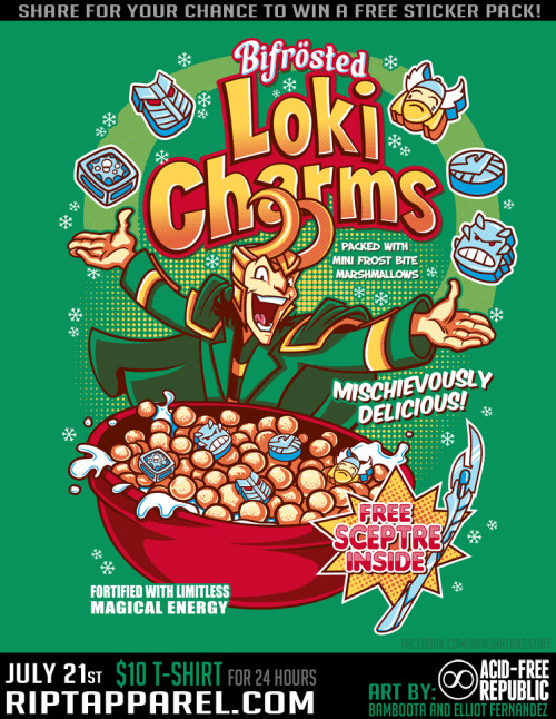 """Loki Charms"" T-shirt available on @RIPT for $10 Saturday, July 21st! http://www.riptapparel.com/ RT for #GiveAway Follow us on our Facebook page!:BambootaElliot Fernandez"