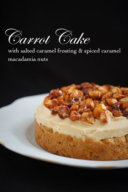 foodfuckery:  Carrot Cake with Salted Caramel Frosting & Spiced Caramel Macadamia Nuts Recipe