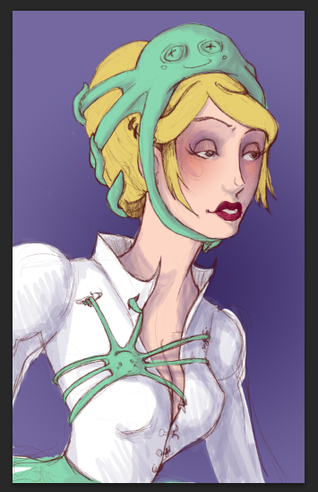Art trade with Pinky! Almost done! Lady with an octopus! :D