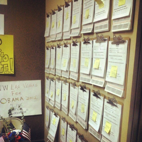 Beautiful clipboard wall - always a team effort! billbward:  Ready for Voter Registration tomorrow (Taken with Instagram)