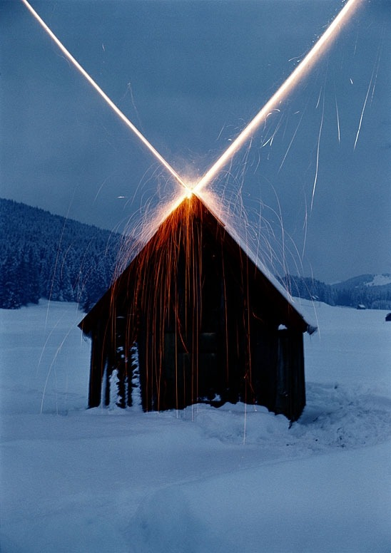 alecshao:  Roman Signer - House with Rockets, 1981