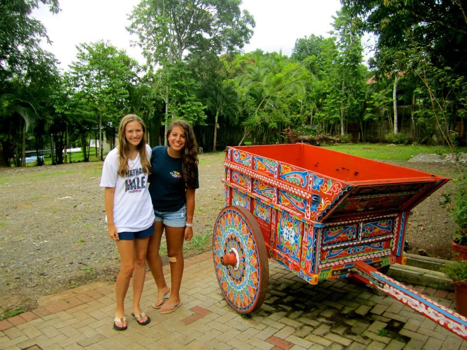 me and one of my besties chillin' in Costa Rica next to a giant colorful wagon. Nbd.