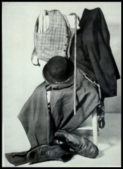 "chaplinfortheages:  The Iconic Costume of ""the tramp"" and one of the most recognizable. I can't figure out if this is his costume from ""The Circus"" 1928 or ""City Lights"" 1931 He wore similar checkered vests in both."