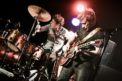 "pigpensplaypen:  The Black Keys are a two-man blues-rock group from Akron, Ohio, United States which formed in 2001, consisting of singer and guitarist Dan Auerbach and drummer Patrick Carney. The band name was inspired by a schizophrenic artist and friend in Akron, who used the term ""black keys"" to describe things he disliked or people he did not trust. The Black Keys have roots in traditional blues and psychedelic rock stylings."