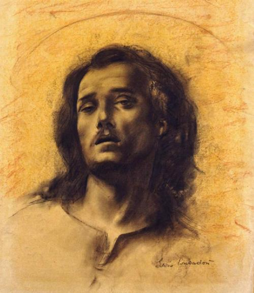Silvio Consadori (Italian 1909-1994) Study for Jesus Bound to the Column Charcoal and sanguine on white paper glued to cardboard cm. 39 x 48,5 1959