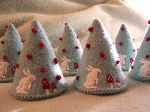 forest of tree ornaments by cathygaubert on Flickr.