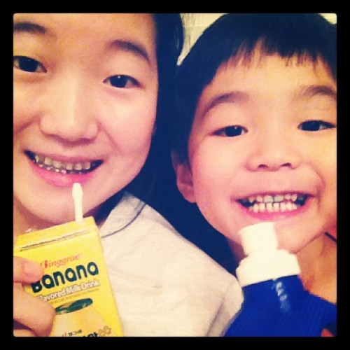 Just drinking our drinks :) #bananamilk #littlebro  (Taken with Instagram)