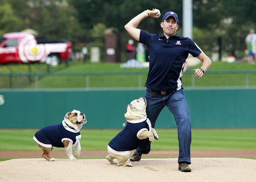 The old man still has it. And I want it it! @indyindians 1st pitch w/ @ButlerBlue3. by ButlerBlue2 on Flickr.