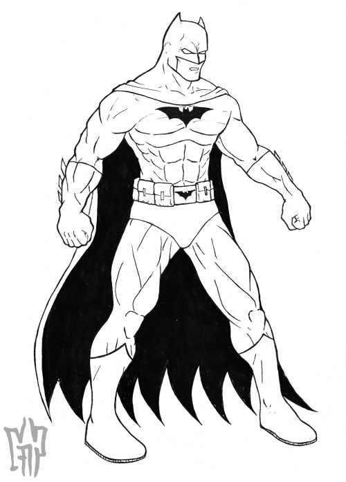 Batman Inks. Taking a break before I lay down some colors.
