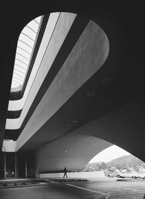 cruello:  Marin County Civic Center, Frank Lloyd Wright, San Rafael, CA, 1962. Photo: Ezra Stoller