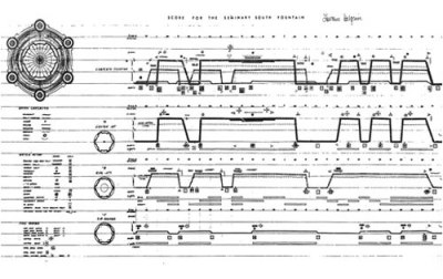 Score for the choreography of water flow in a fountain by Richard Halprin for Seminary South Park I saw scores as a way of describing all such processes in all the arts, of marking process visible and thereby designing with process through scores. I saw scores also as a way of communicating these processes over time and space to other people in other places at other moments and as a vehicle to allow many people into the act of creation together, allowing for participation, feedback and communication via Dataisnature