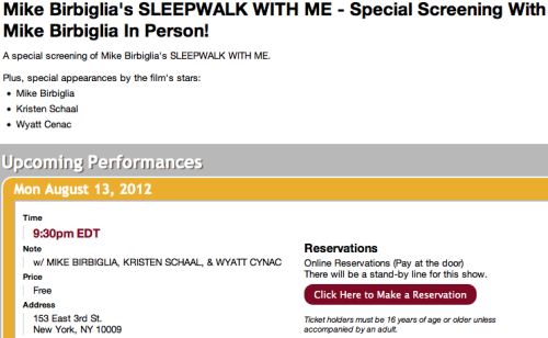 A special screening of Mike Birbiglia's Sleepwalk With Me… FREE.