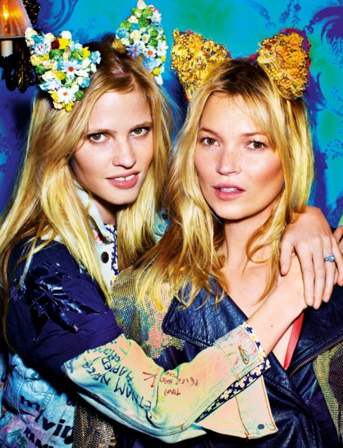 Lara Stone and Kate Moss shot by Mario Testino