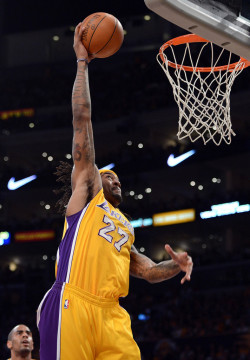 "foreverla:  Jordan Hill Re-Signs with Lakers: Free-agent forward Jordan Hill has reached agreement on a two-year, nearly $8 million contract to stay with the Los Angeles Lakers, his agent Kevin Bradbury told Yahoo! Sports. Hill turned down a more aggressive offer from the Minnesota Timberwolves to remain with the Lakers, who traded for him in March. Hill played an increasingly vital role for the Lakers during the Western Conference semifinals. ""Jordan was excited about the fact that Steve Nash decided to join the Lakers and the prospect of winning a championship in L.A.,"" Bradbury said."
