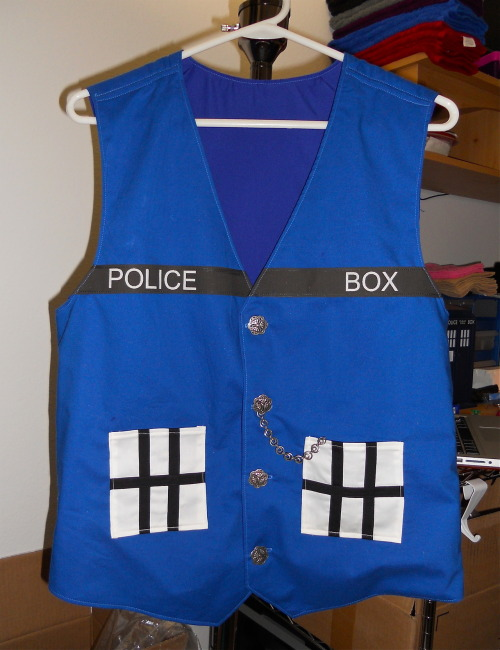 pantydragon:  Just finished my TARDIS waistcoat. I'll be selling these as well as TARDIS cocktail dresses for the ladies at Otakon next weekend. (Booth #P04 if anyone will be there: XDcreationz)
