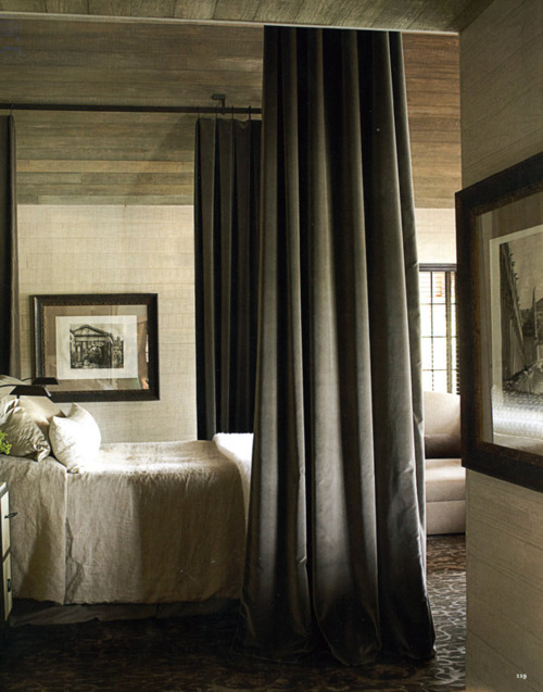 georgianadesign:  Master bedroom in an Alabama lake house. Designer Susan Ferrier in House Beautiful.