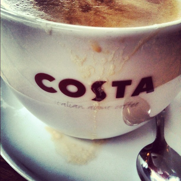 first thing I looked for… #coffee #costa #java #caffeine #London! #doubledecker #bigben #tea #londoneye #travel #tourism #Europe #tourist #england #uk  (Taken with Instagram)