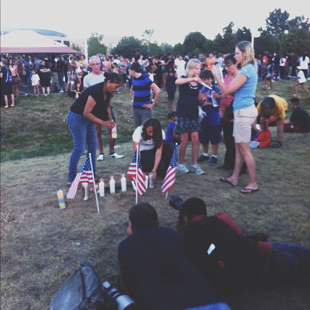 Vigil for the victims of the July 20 shooting. (Taken with Instagram at Century Aurora 16)