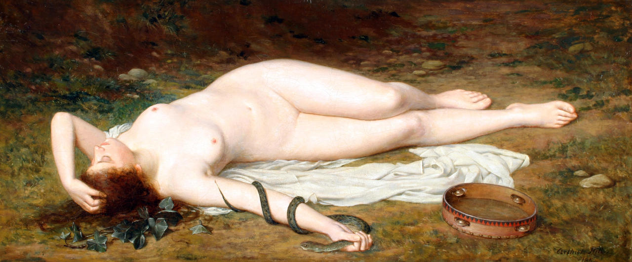 ponderful:  Arthur Hill (British), A fallen tambourine girl with a snake, 19th century
