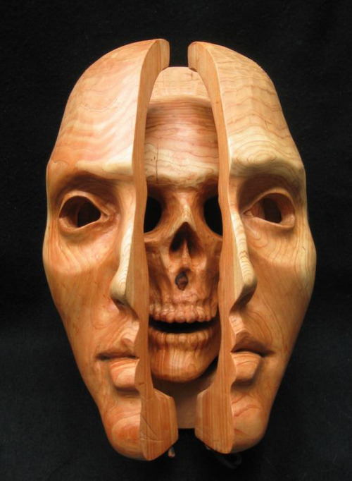 Beautiful  Wooden sculpture of a Face, and Skull Here is the sculpture closed